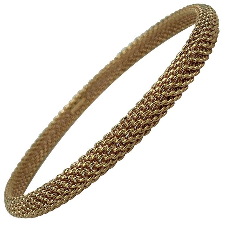 Tiffany & Co. 18 Karat Rose Gold Mesh Bangle Bracelet For Sale
