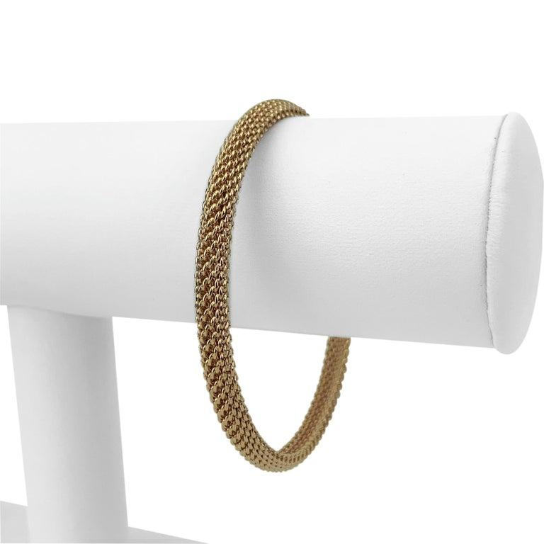 Tiffany & Co. 18k Rose Gold 20.7g Mesh Bangle Bracelet 7.75