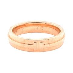 Tiffany & Co. 18 Karat Rose Gold Narrow T Ring
