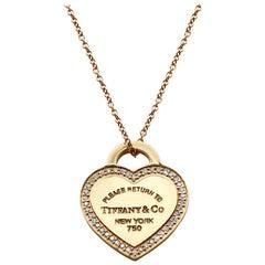Tiffany & Co. 18 Karat Rose Gold Return to Tiffany Diamond Necklace 0.13 Carat