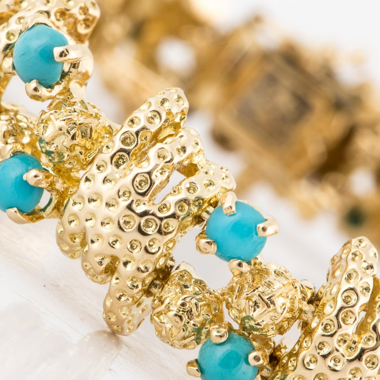 Tiffany & Co. 18 Karat Turquoise Bracelet In Good Condition For Sale In Houston, TX