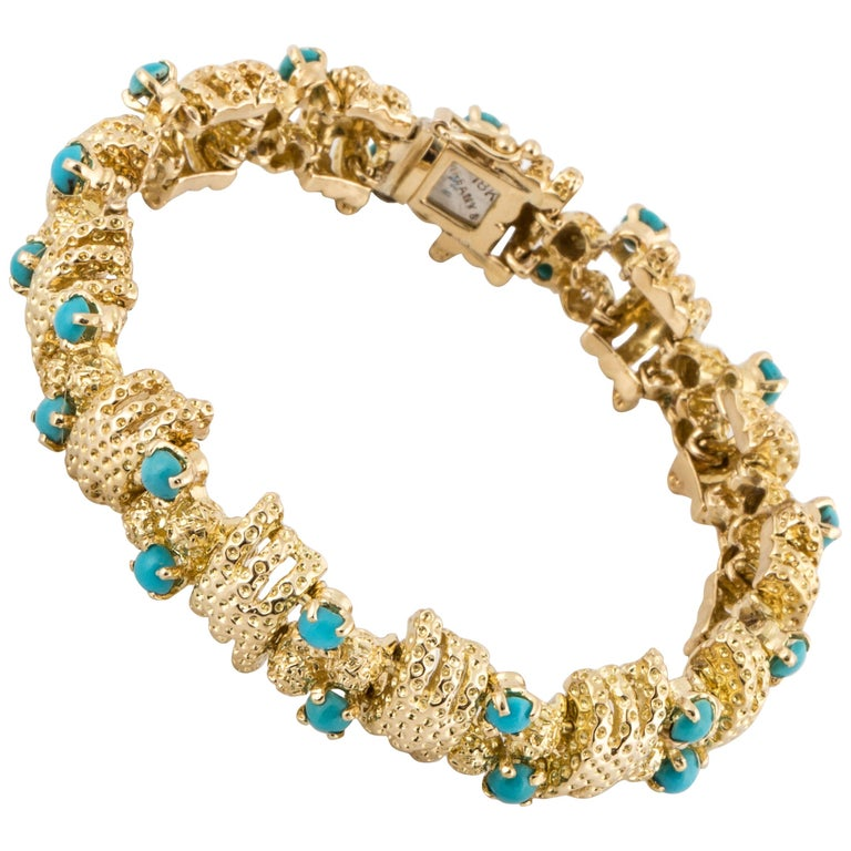 Tiffany & Co. 18 Karat Turquoise Bracelet For Sale