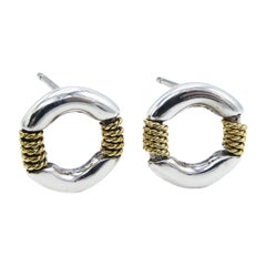 Tiffany & Co. 18 Karat Twisted Rope Circle Stud Gold & Sterling Silver Earrings