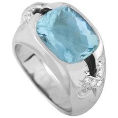 Tiffany & Co. 18 Karat White Gold 0.25 Carat Diamond and Aquamarine Ring