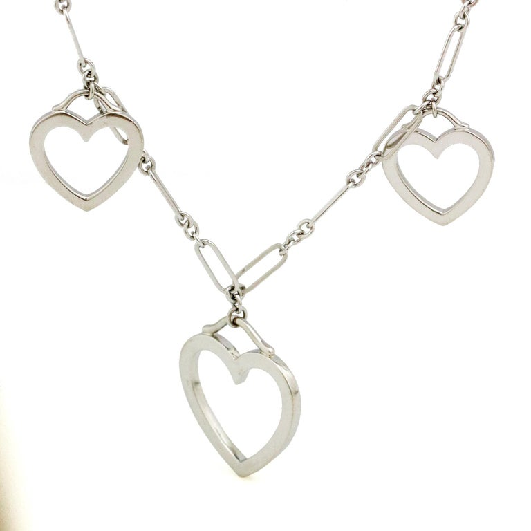Tiffany & Co. 18 Karat White Gold 3 Hearts Pendant Necklace In Excellent Condition For Sale In Fort Lauderdale, FL