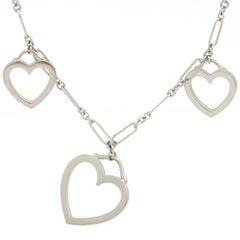 Tiffany & Co. 18 Karat White Gold 3 Hearts Pendant Necklace