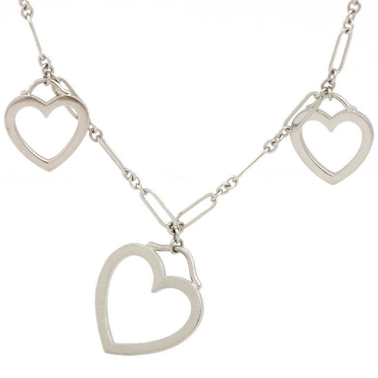 Tiffany & Co. 18 Karat White Gold 3 Hearts Pendant Necklace For Sale