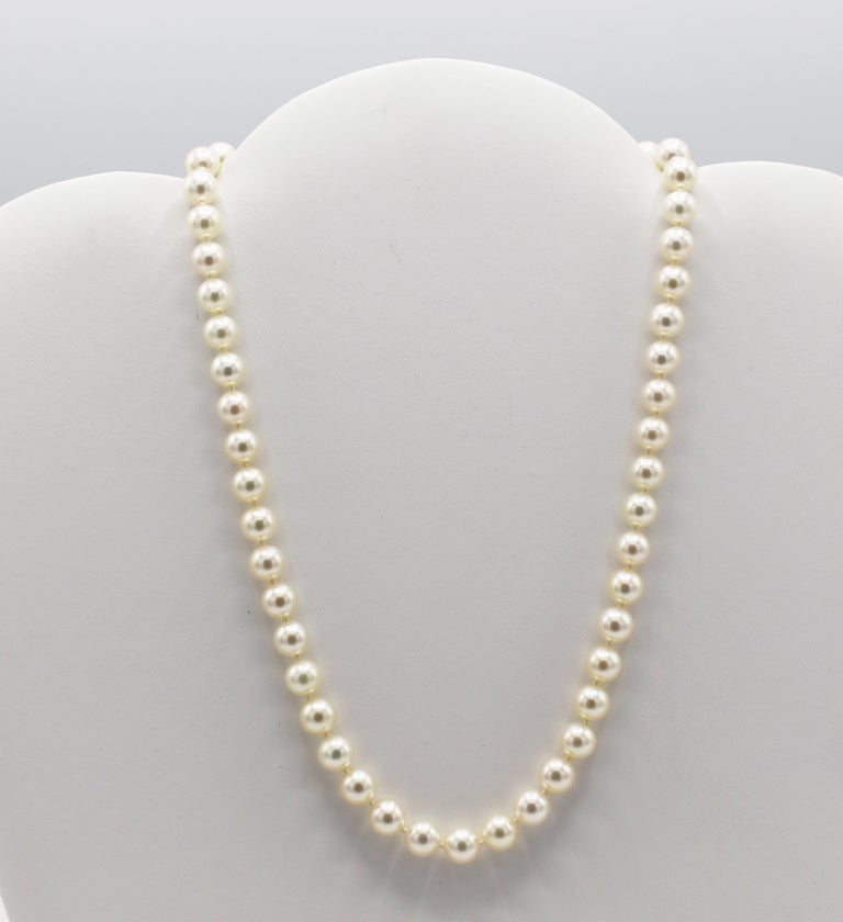 Modern Tiffany & Co. 18 Karat White Gold Akoya Cultured Pearl Signature X Necklace For Sale