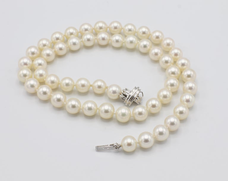 Tiffany & Co. 18 Karat White Gold Akoya Cultured Pearl Signature X Necklace In Excellent Condition For Sale In  Baltimore, MD