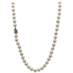 Tiffany & Co. 18 Karat White Gold Akoya Cultured Pearl Signature X Necklace