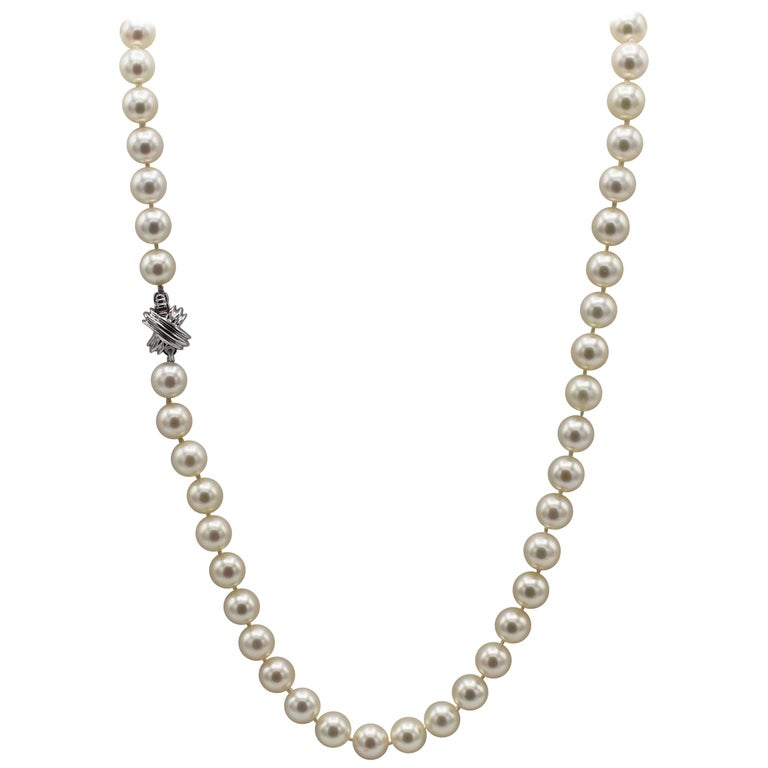 Tiffany & Co. 18 Karat White Gold Akoya Cultured Pearl Signature X Necklace For Sale