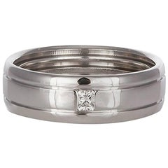 Tiffany & Co. 18 Karat White Gold and Diamond Men's Wedding Band