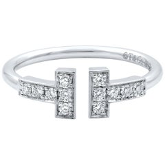 Tiffany & Co. 18 Karat White Gold and Diamonds T Wire Ring