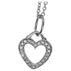 Tiffany & Co. 18 Karat White Gold Diamond Open Heart Pendant Necklace