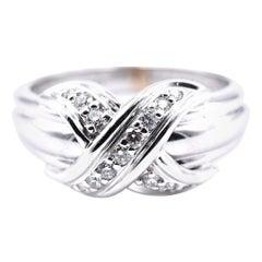 Tiffany & Co. 18 Karat White Gold Diamond X Ring