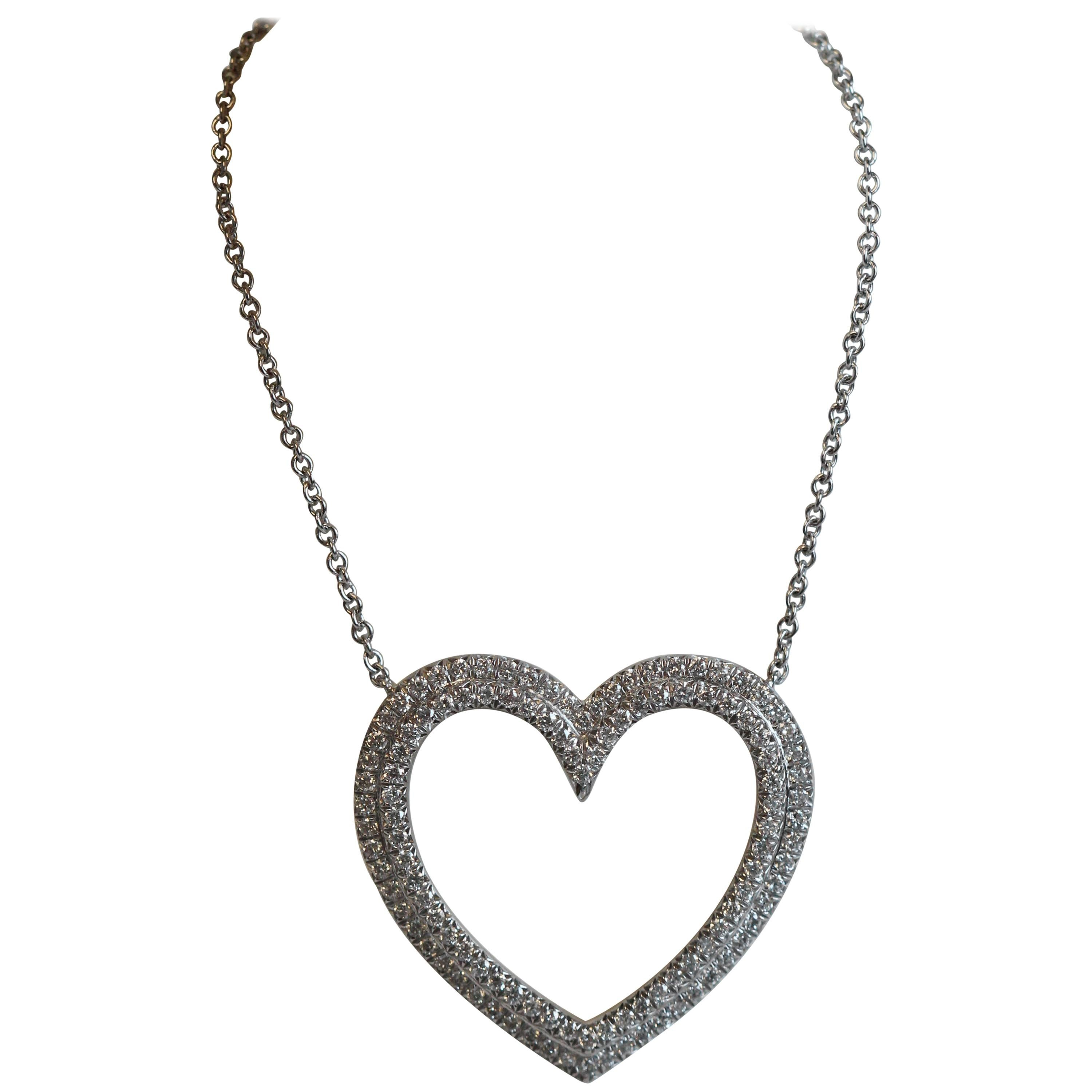 4fdd4c5874896 Tiffany and Co. Diamond Metro Heart Pendant For Sale at 1stdibs