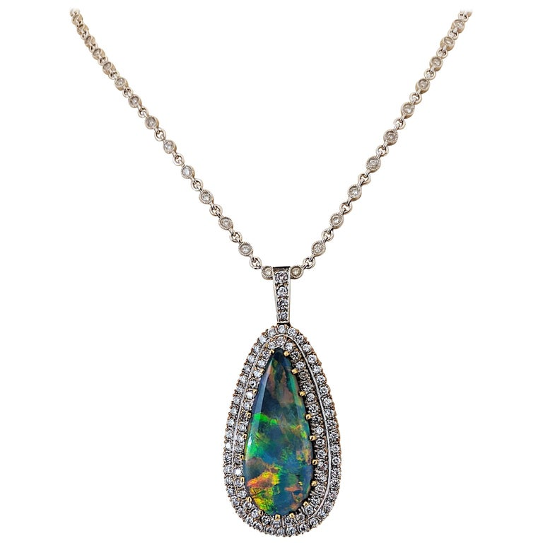Tiffany & Co. 18 Karat White Gold Opal and Diamond Pendant, circa 1950s For Sale