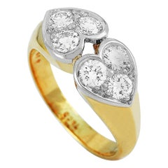 Tiffany & Co. 18 Karat Yellow and White Gold 0.70 Carat Diamond Ring