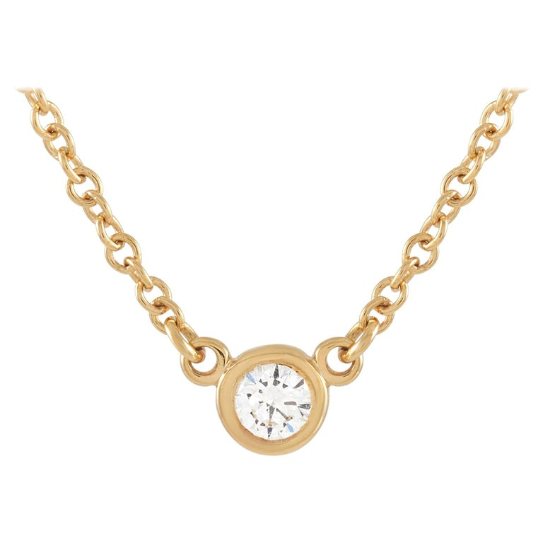 Tiffany & Co. 18 Karat Yellow Gold 0.10 Carat Diamond Solitaire Pendant Necklace For Sale