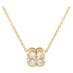 Tiffany & Co. 18 Karat Yellow Gold 0.20 Carat Diamond Clover Pendant Necklace