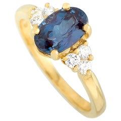 Tiffany & Co. 18 Karat Yellow Gold 0.21 Carat Diamond and Alexandrite Ring