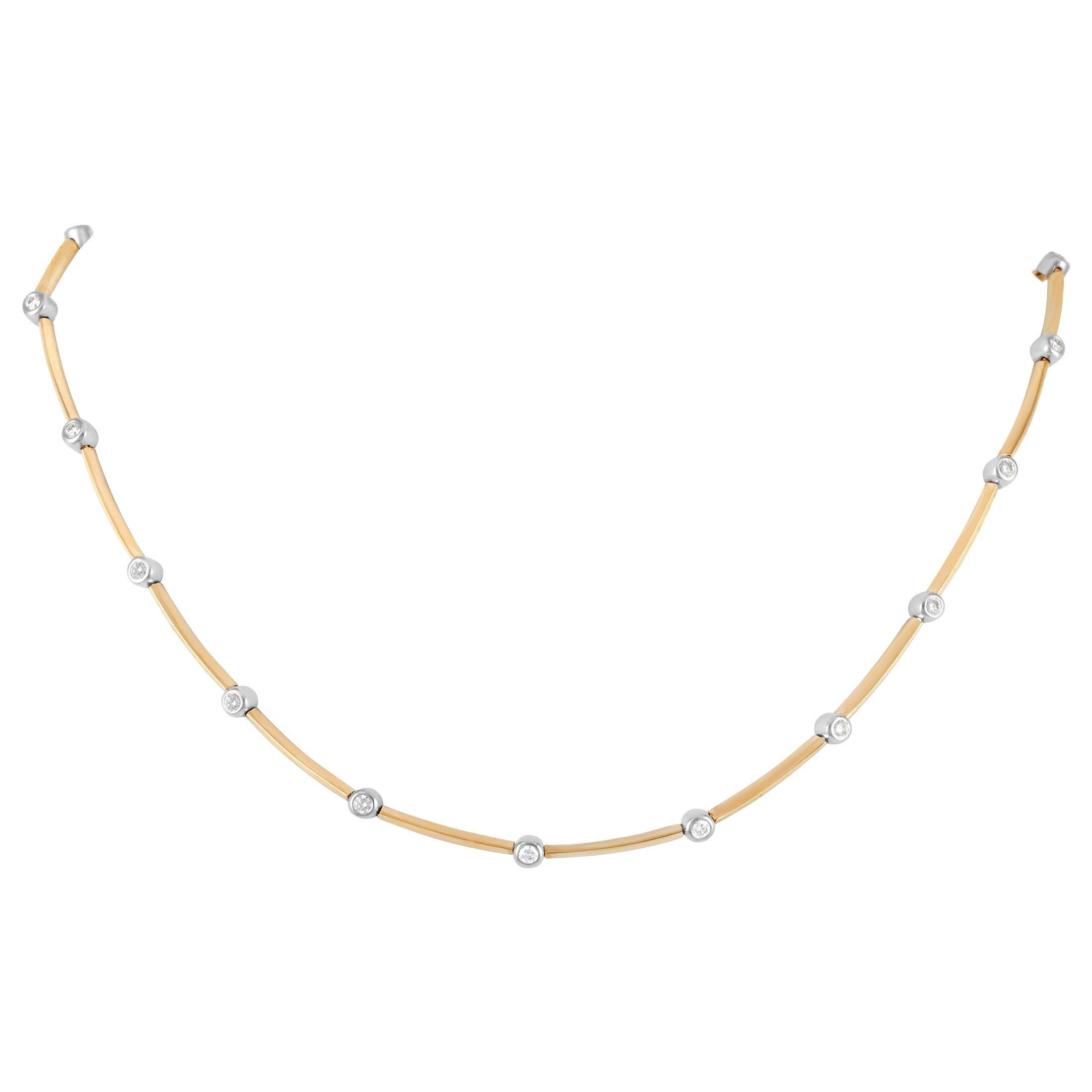 Tiffany & Co. 18 Karat Yellow Gold 1.00 Carat Diamond Necklace