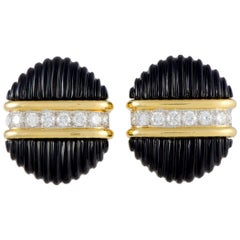 Tiffany & Co. 18 Karat Yellow Gold 1.60 Carat Diamond and Onyx Earrings