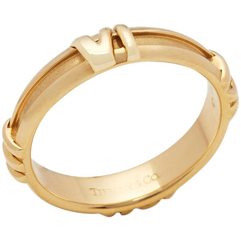042ca9a03 Tiffany and Co. 18 Karat Yellow Gold 1995 Atlas Band Ring For Sale ...