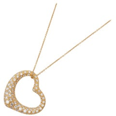 Tiffany & Co. 18 Karat Yellow Gold 2 Carat Diamond Heart Elsa Peretti Necklace