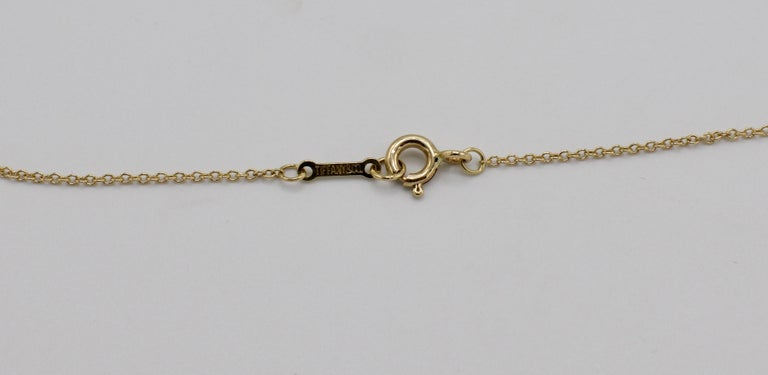 Tiffany & Co. 18 Karat Yellow Gold .21 Carat Diamond Pendant Necklace In Excellent Condition For Sale In  Baltimore, MD