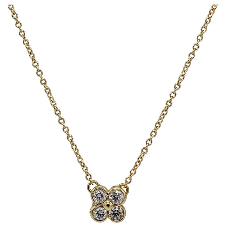 Tiffany & Co. 18 Karat Yellow Gold .21 Carat Diamond Pendant Necklace For Sale