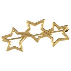 Tiffany & Co. 18 Karat Yellow Gold 3 Star Brooch Vintage 1986 Nice