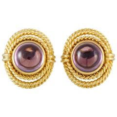 Tiffany & Co. 18 Karat Yellow Gold Amethyst Earrings