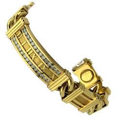 Tiffany & Co. 18 Karat Yellow Gold and 1 Carat Diamond Atlas Bracelet