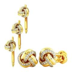 Tiffany & Co. 18 Karat Yellow Gold and 2.30 Carat Diamond Tuxedo Set
