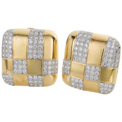 Tiffany & Co. 18 Karat Yellow Gold and Diamond Checkerboard Earrings