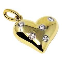 Tiffany & Co. 18 Karat Yellow Gold and Diamond Etoile Heart Shaped Pendant Charm