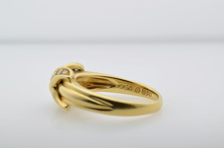 Tiffany & Co Yellow Gold 18 Karat and Diamond Ring 1990 In Excellent Condition For Sale In Berkeley, CA