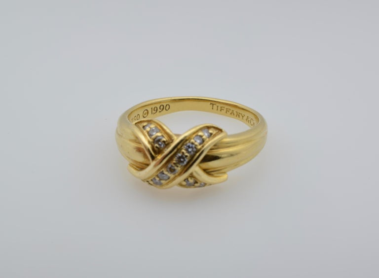 Tiffany & Co Yellow Gold 18 Karat and Diamond Ring 1990 For Sale 1
