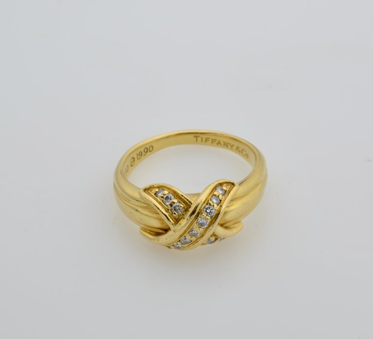Tiffany & Co Yellow Gold 18 Karat and Diamond Ring 1990 For Sale 3