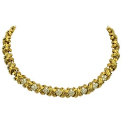 Tiffany & Co. 18 Karat Yellow Gold and Diamond X Link Collar Necklace