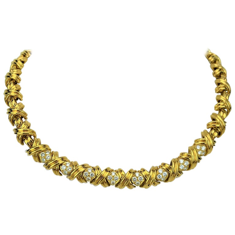 Tiffany & Co. 18 Karat Yellow Gold and Diamond X Link Collar Necklace For Sale