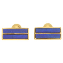 Tiffany & Co Blue Lapis Cufflinks Set in 18k Yellow Gold