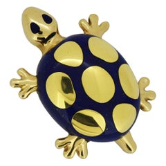 Tiffany & Co. 18 Karat Yellow Gold and Lapis Lazuli Turtle Brooch
