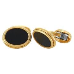 Tiffany & Co. 18 Karat Yellow Gold and Onyx Oval Cufflinks