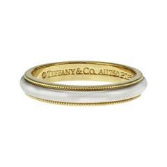 Tiffany & Co. 18 Karat Yellow Gold and Platinum Milgrain Band Ring