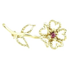 Tiffany & Co. 18 Karat Yellow Gold and Ruby Flower Brooch / Pin