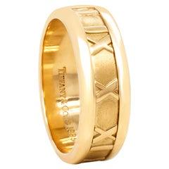 Tiffany & Co 18 Karat Yellow Gold Atlas Roman Numeral Wedding Band Ring