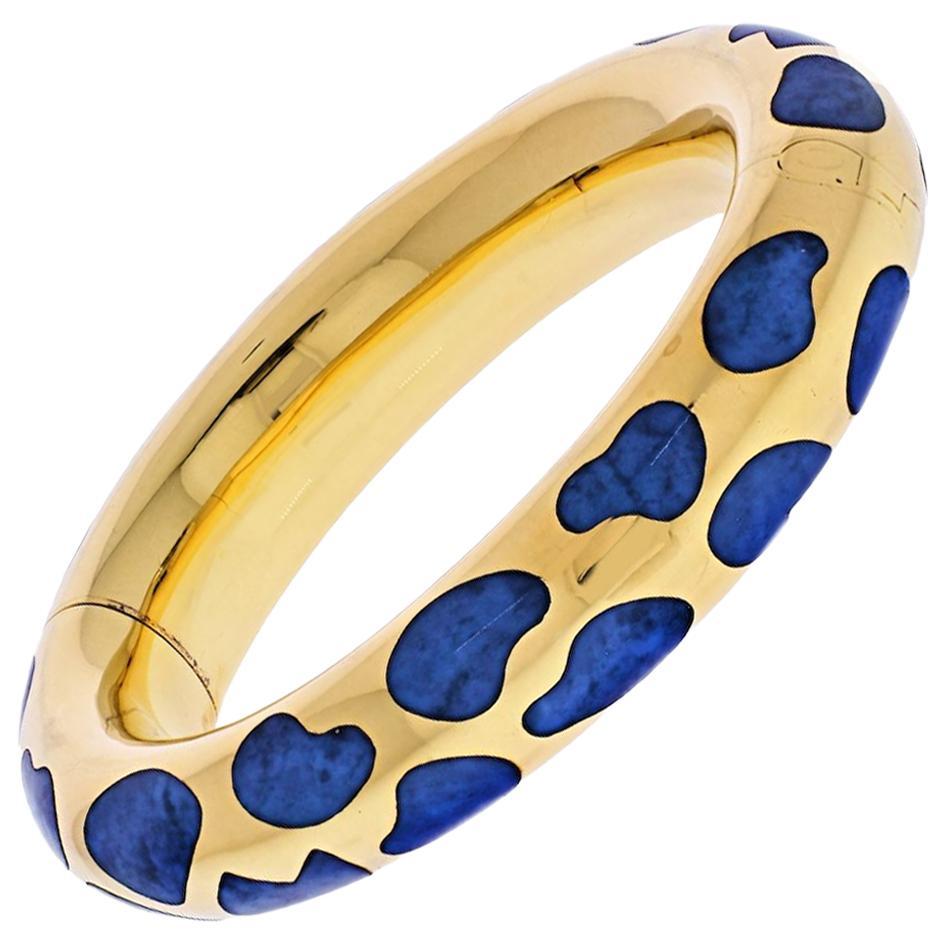 Tiffany & Co. 18 Karat Yellow Gold Blue Lapis Bangle Bracelet