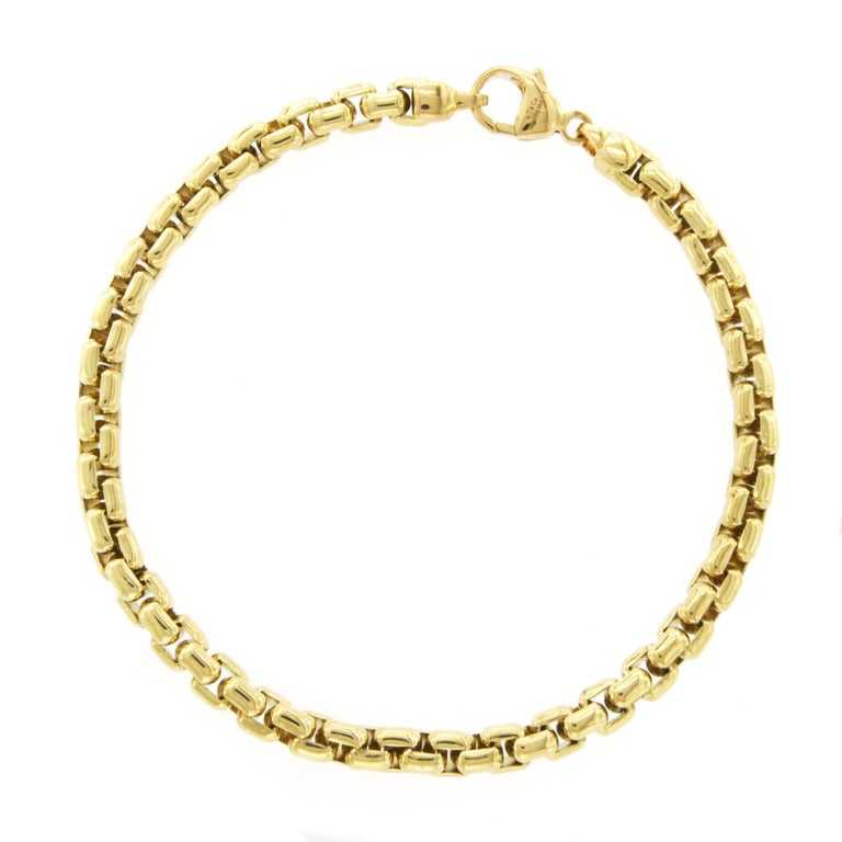 Women's or Men's Tiffany & Co. 18 Karat Yellow Gold Box Link Bracelet For Sale